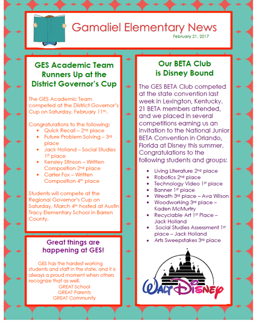 end of the year newsletter gamaliel elementary
